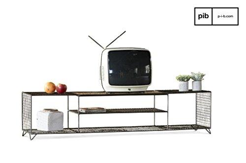 Groot industrieel Ontario tv-meubel - Makkelijk te combineren, Tijdloos elegant, 100% metalen product | Robuust, stijlvol en een industrieel karakter - Parelmoer-muisgrijs (L150 x H32 x P36 cm)
