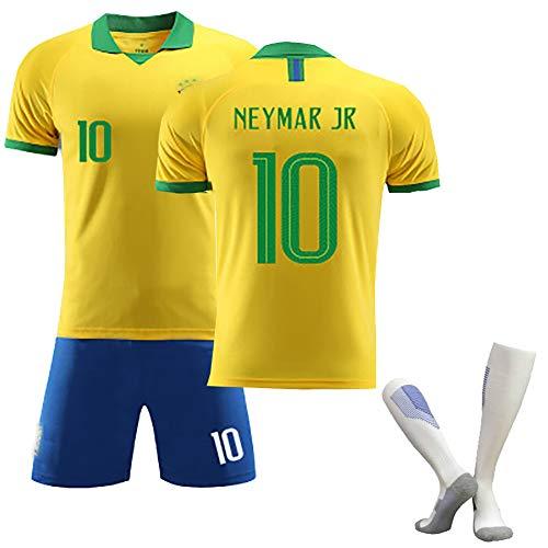 Kinder-Erwachsenen-Fußball-T-Shirt, Neymar JR-Fußballtrikot, Brasilien 2020 Neuestes Auswärtstrikot-Trikot, Bester Schütze, Wiederholbare Reinigung, anpassbar-Yellow-M