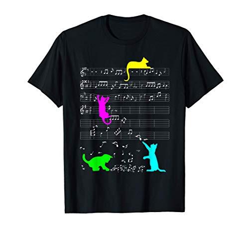Divertente gatto che gioca con le note musicali musicista Maglietta