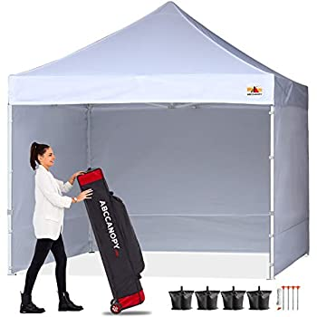 ABCCANOPY Ez Pop Up Canopy Tent with Sidewalls 10x10 Commercial -Series White