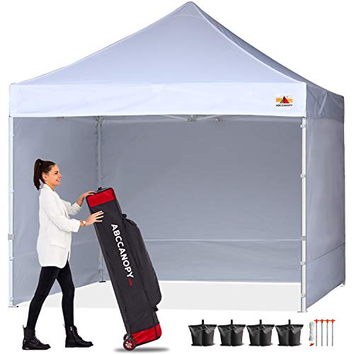 ABCCANOPY Canopy 10x10 Pop Up Commercial Canopy Tent with Side Walls Instant Shade, Bonus Upgrade Roller Bag, 4 Weight Bags, Stakes and Ropes, White