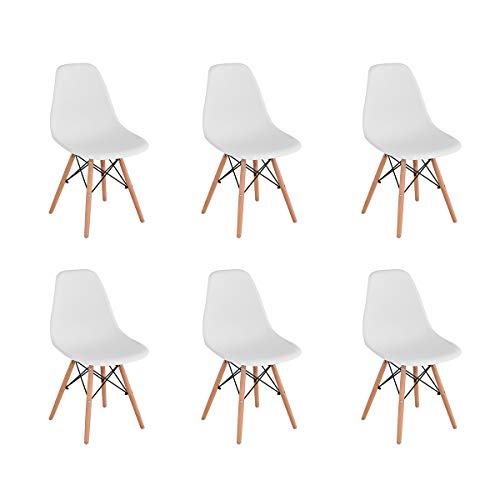 Naturelifestore 6er Set Esszimmerstühle/Lounge-Stühle im Modernen Design, Sitz aus Polypropylen und Beine aus Buchenholz (Weiß)
