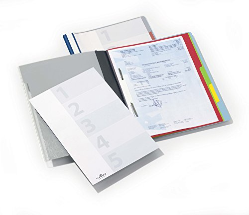 Durable 255706 Schnellhefter Divisoflex mit 5 Unterteilungen (mit Deckblatt und Beschriftungsstreifen) blau