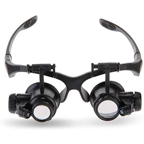 HJJ Lupa en Miniatura, Lupa de Gafas de Diadema con 2 Luces LED 8 Lentes Intercambiables, Gafas de Lupa, para reparación de Relojes de joyero