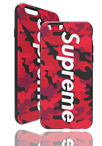 SUP Camo Hülle [ Kompatibel mit Apple iPhone 6 Plus, in Rot ] Supreme Hülle im Camouflage Design - Army Tarnmuster - Fühlbares 3D-Motiv