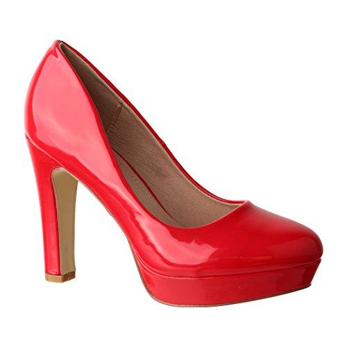 Elara Plateau Pumps Damen High Heels Chunkyrayan E22322 Red-38