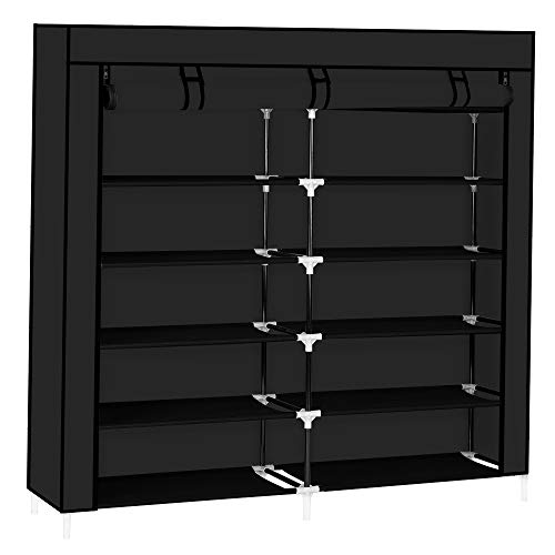 "Shoe Rack Storage Organizer, 6-Tiers Double Row Shoes Rack with Nonwoven Fabric Cover Space Saving Shoe Shelves for Closet Cabinet Entryway 42.1""x11.6""x45.3"" (Black)"
