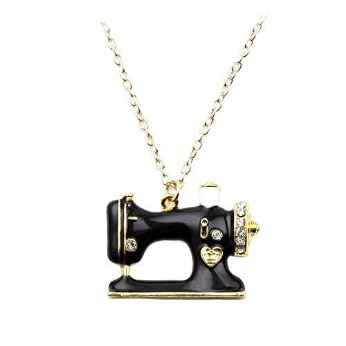 Schwarze Emaille-Nähmaschinen-Halskette und Anhänger für Männer und Frauen, Legierung, Strass, Nähmaschinen-Nadel, Cosplay