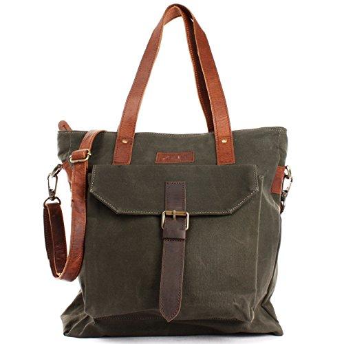 LECONI XL Shopper Canvas Leder große Damentasche im Vintage-Style Shopping-Bag Einkaufstasche Damen Schultertasche DIN A4 Beuteltasche 36x37x13cm grün LE0045-C