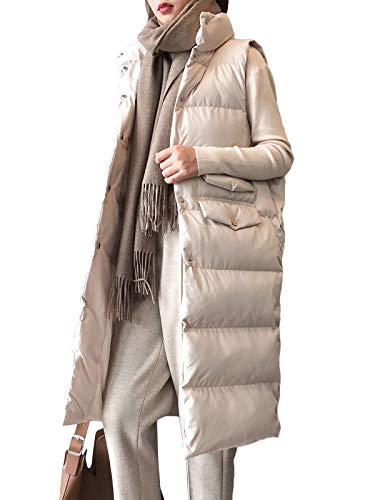 Minetom Damen Daunenweste Einfarbig Warme Langer Mantel Steppmantel mit Taschen Weste Slim Gilet Winter Outdoor Ärmellos Jacke B Beige 42