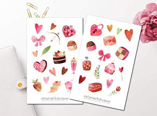 Valentinstag Sticker Set | Aufkleber Bullet Journal | Journal Sticker | Planersticker, Sticker Liebe, Sticker Essen, Sticker Süßigkeiten