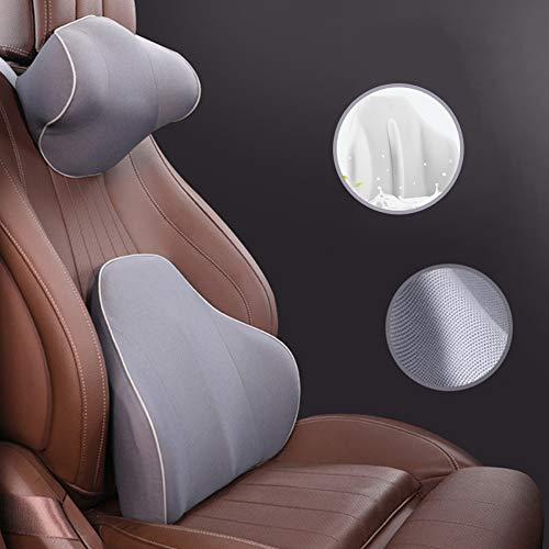 SDSPKX Auto Nackenkissen Rücken-Kissen Lendenkissen Rückenstütze/Nackenstütze Ergonomische Autositz Nackenstütze mit abnehmbarem Bezug