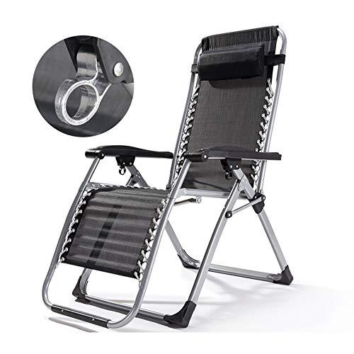 Axdwfd Chaise longue Chaise longue, chaise pliante, chaise de repos, lit siesta, bureau, chaise paresseuse, balcon, plage, chaise longue, fauteuil de détente 180 * 65 * 77 cm (Couleur : NOIR)