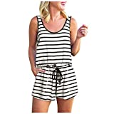 Topkeal - Mono corto para mujer, a rayas, verano, sin mangas, casual A_blanco. XL