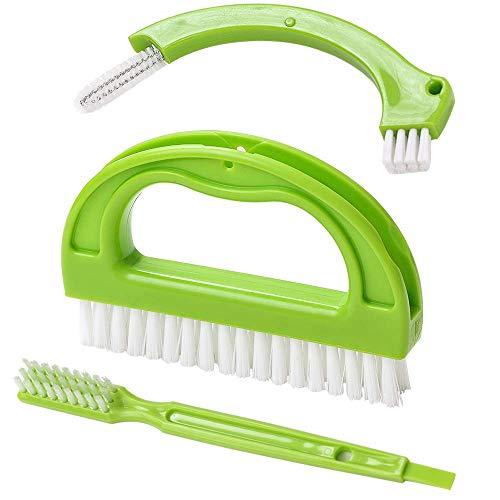 C/N Cepillo de limpieza 3 en 1, para baño y cocina, cepillo de limpieza de lavabo pequeño, herramientas para quitar el moho (verde)