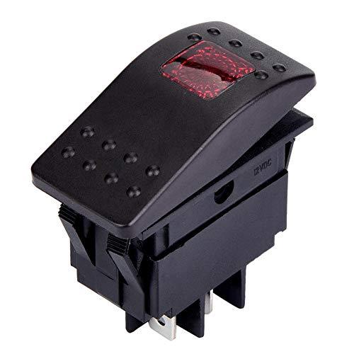 Interruptor basculante de 5 piezas DC 12V Interruptor de 4 pines IO con luz LED para batería de coche, barco y caravana(rojo)