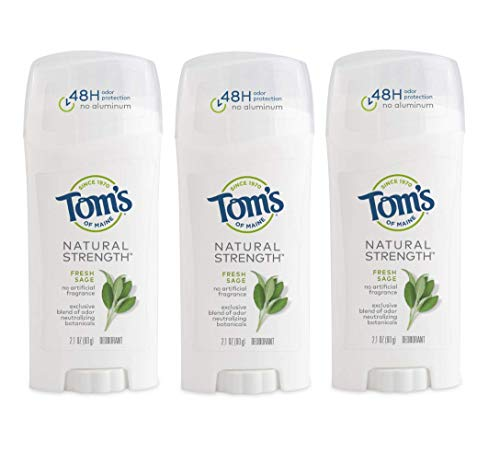 Tom's of Maine Natural Strength Deodorant, Deodorant for Women, Natural Deodorant, Fresh Sage, 2.1 Ounce, 3-Pack