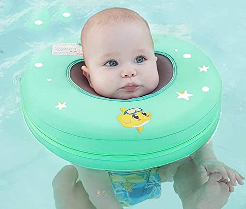 BMDHA Anillo la Natación del Cuello Bebé,No Necesita Inflable Anillo de flotabilidad Ajustable Mantenga a su bebé Seguro Adecuado para Lactantes de 7 a 12 kg (Azul)