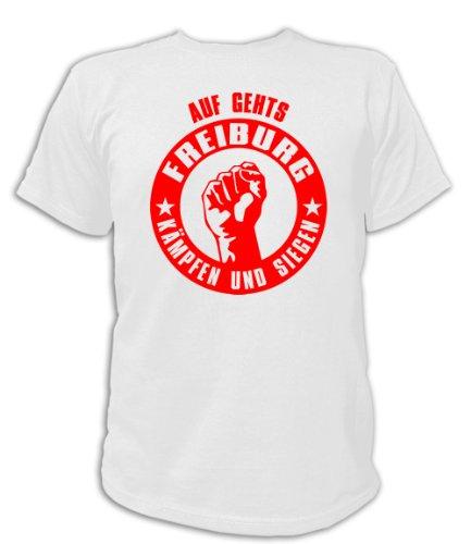 Artdiktat T-Shirt Auf geht´s Freiburg kämpfen und siegen Unisex, Größe XL, weiß