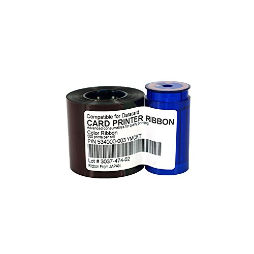 Miwaimao 534000-003 YMCKT Ribbon 500rints/roll for Datacard SD260 SD360 SP35 SP55 SP75 Plus Card Printer Including Cleaning Card&Roller