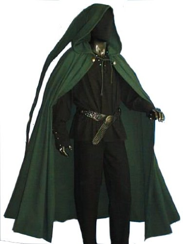 Mittelalter Umhang mit Zipfelkapuze dunkelgrün