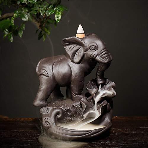 YYW Elefant Räucherstäbchen Halter mit 20PCs Rückfluss Räucherkegel, Asien Keramik Räucherstäbchenhalter Rückfluss Räuchergefäß