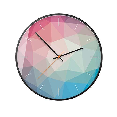Salon simple rond horloge murale Art muet motif géométrique chambre horloge murale horloge murale bleu 12/14 pouce (Color : Multi-colored, Taille : 12 inches)