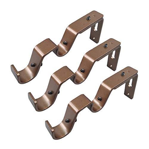 Exclen - Soporte para barra de cortina (3/4 y 5/8', 3 unidades), color marrón