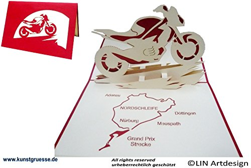 POP UP 3D Karte Geburtstagskarte grußkarten Gutschein Fahrzeug Motorrad mit Nordschleife (#158)