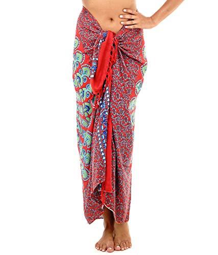 SHU-SHI - Beach Sarong - for Women - Bikini/Swimsuit Wrap & Clip - Mandala Peacock - One Size - Red