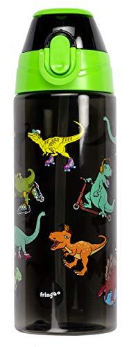 Fringoo - Botella de agua resistente y práctica para niños con pajita, sin BPA, botella de viaje o botella de agua deportiva para niños - 600 ml - patinadores de dinosaurios
