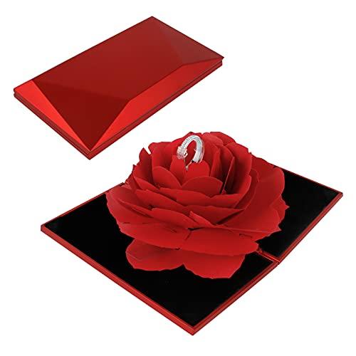 Haisheng Caja de Anillo Caja Joyero Caja Anillo Regalo Caja Anillo San Valentin Caja Anillo 3d Caja Anillo Romantica Caja de Anillo Rosa para El Regalo Sorpresa Boda Día de San Valentín (12*6.6*2.2CM)