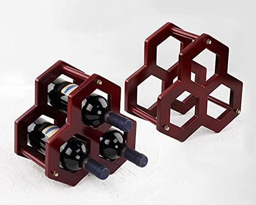 Madera Botelleros Verticales Design para 3 Botellas Estantería de Botellas de Vino Retro Pequeño Armarios de Vino para Vinoteca Mueble Bar Salon 2 Piezas Rojo Marrón