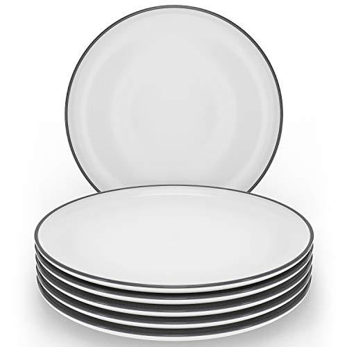 Speiseteller Set 6-tlg. - Große Geschirr Speiseteller weiß im Trendy Skandinavischen Design - Spülmaschinenfestes Keramik Teller Set - 6 flache Teller - Stilvolles Geschirr Set von Pure Living