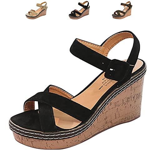 Cuidado Sandale Femme Talon Compensé Sexy Chaussures à Semelles CompenséEs Mules Femme Compensees Confort Décontractée Plage Vacances Ceinture Croisée Pantoufles