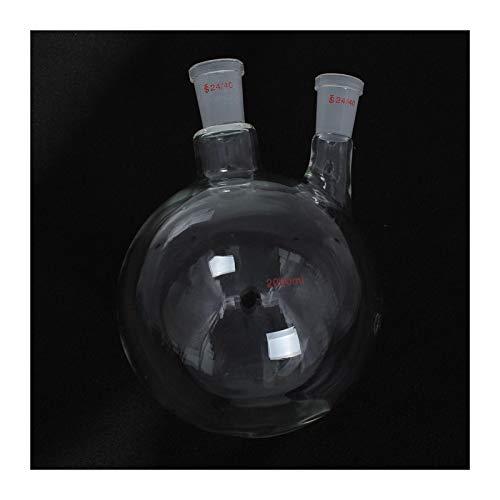 wana Professionell Double Hals-Kolben, 2000ml 24/40 Stecker, 2 Hals Runder Glaskolben, Doppel-Hals-Labor Chemische Kochkolben Laborbedarf. (Color : Clear)