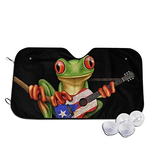 Car Windshield Sun Shade Tree Frog Playing Puerto Rico Flag Guitar Folding Auto Sunshade for Car Truck SUV Blocks Uv Rays Sun Visor Protector