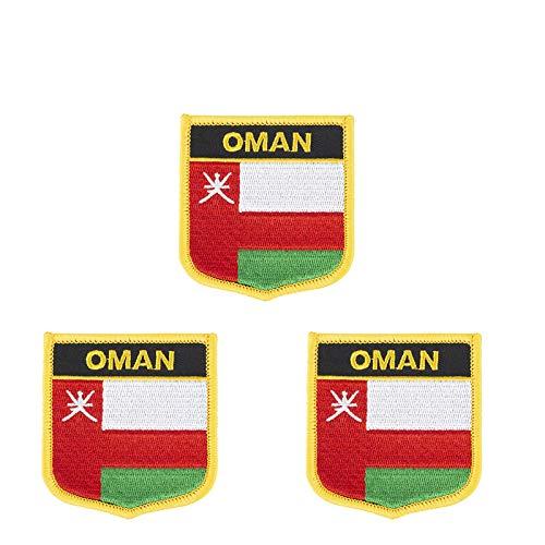 3 Stück Bügelbild mit Oman-Flagge bestickt in Schildform, zum Aufbügeln oder Aufnähen.