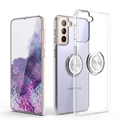 Custodia per Galaxy S21 Plus,custodia protettiva per telefono vestibilità sottile e trasparente[supporto per anello][funzione montaggio magnetico per auto] per Galaxy S21 Plus 6,7 pollici,Trasparente