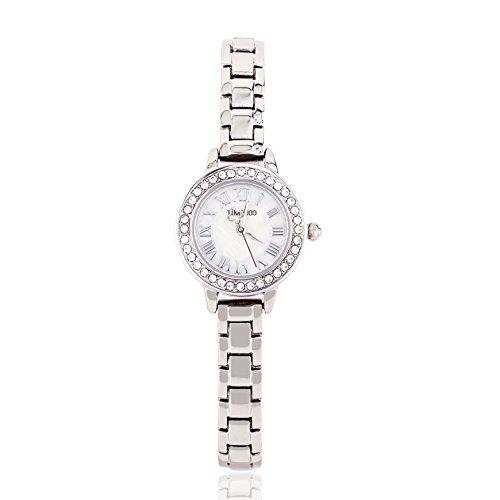 Time100 Orologio da Donna Cinturino in Acciaio INOX Diamante decorative Seashell #W50861L (Acciaio)