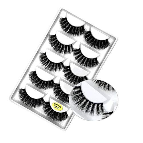 IBàste 5 paires 3D Natural Faux Cils Maquillage Extension Cils réutilisables Faux cils