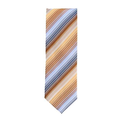 Zijden Ties Tie Classic Zijde lichtblauw bronzen streep patroon 8 cm
