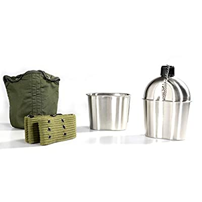 Pinty G.I. Army Stainless Steel Canteen Military with Cup and Green Nylon Cover Waist Belt for Camping Hiking (Cup with foldable handle B)
