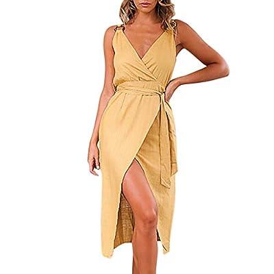 2019 Fashion!Women Sleeveless Sundress Sexy V-Neck Belt Bandage Ladies Split Solid Tank Long Dress Yellow by Leewos