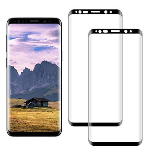 SNUNGPHIR Pellicola Protettiva per Samsung Galaxy S8 Vetro Temperato, 3D Curvo Copertura Completa, Anti-graffio, Anti-Impronta Digitale, Senza Bolle Pellicola di Vetro, 2 Pezzi