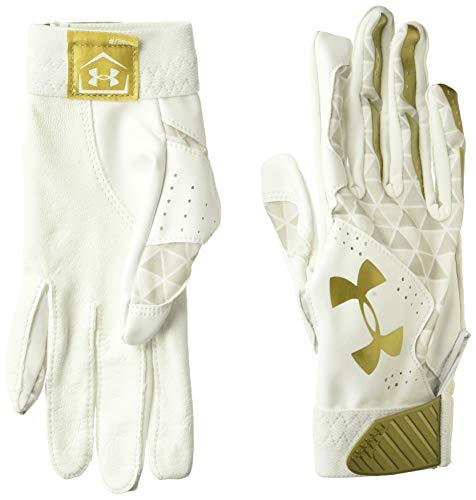 Under Armour Women's Radar Softball Batting Gloves, White//Metallic Gold, Medium