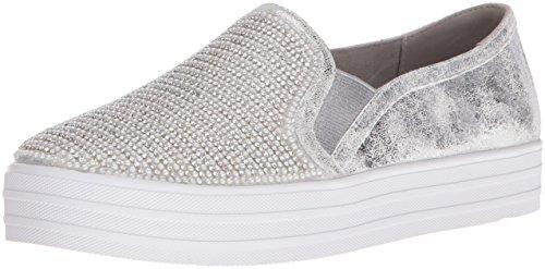 Skechers Damen Double Up Shiny Dancer Slip On Sneaker, Silber (Silver), 36.5 EU