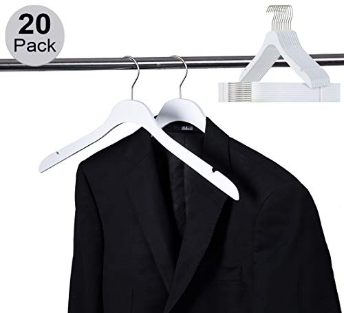 Luxury Slim Space Saving Wooden Clothes Hanger with Squared Pant Bar Best for Shirts, Blouses, Pant, Dress, Hangers White (White - Shirt/Blouse, 20)