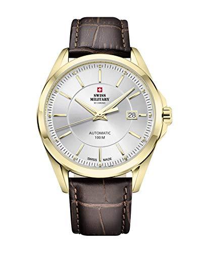 Swiss Military by Chrono Reloj de pulsera analógico automático para hombre con correa de piel SMA34085.18