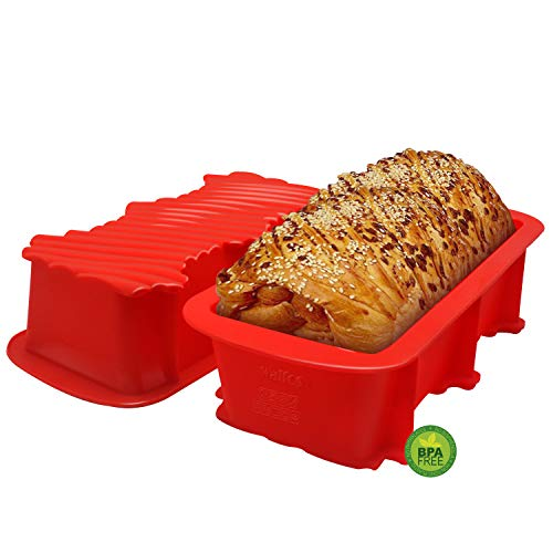 Walfos Moldes de Silicona para Hornear Pan, Moldes de Pan Rectangular, Moldes no pegajosos para tortas y Pan caseros, sin BPA, Juego de 2